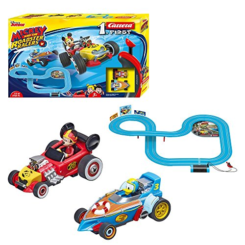 Carrera 20063013 First Disney Mickey and The Roadster Racers Rennbahn für Kinder ab 3 Jahren Mickey Mouse Vs. Donald Duck